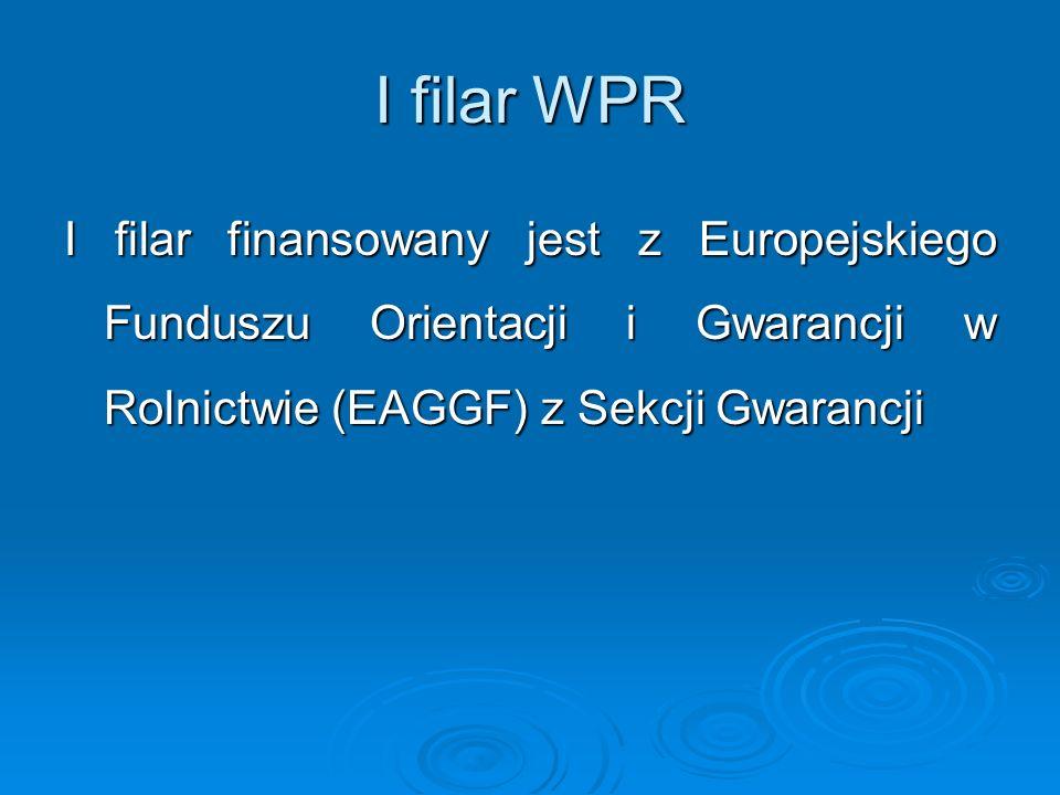 I filar WPR I filar finansowany jest z Europejskiego Funduszu Orientacji i Gwarancji w Rolnictwie (EAGGF) z Sekcji Gwarancji
