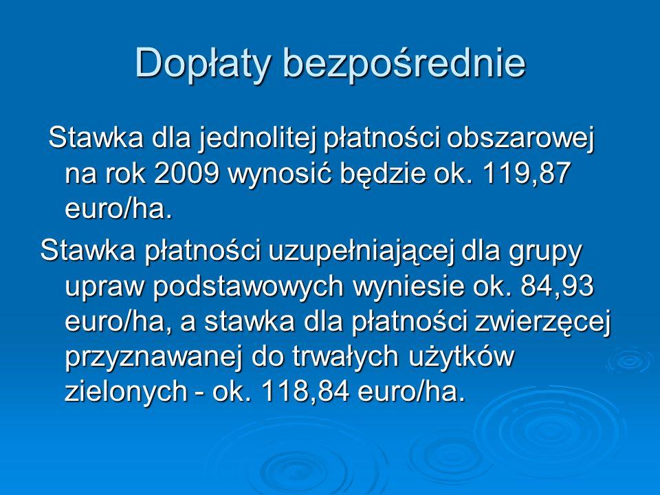 Dopłaty bezpośrednie Stawka dla jednolitej płatności obszarowej na rok 2009 wynosić będzie ok. 119,87 euro/ha. Stawka dla jednolitej płatności obszaro
