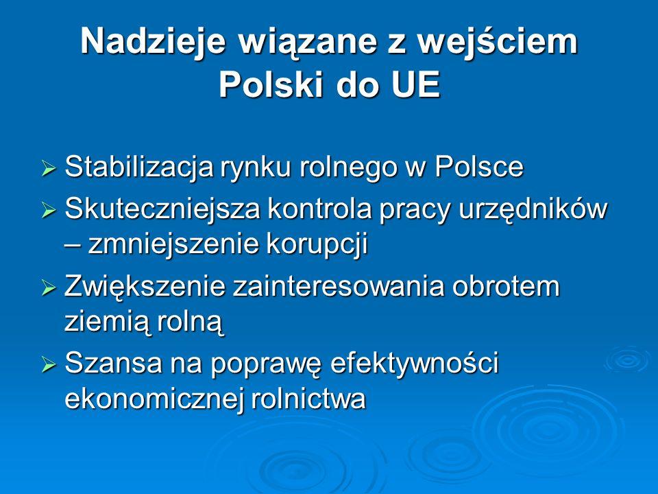 Nadzieje wiązane z wejściem Polski do UE Stabilizacja rynku rolnego w Polsce Stabilizacja rynku rolnego w Polsce Skuteczniejsza kontrola pracy urzędni
