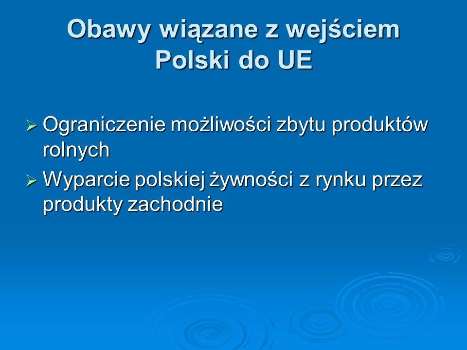 Obawy wiązane z wejściem Polski do UE Ograniczenie możliwości zbytu produktów rolnych Ograniczenie możliwości zbytu produktów rolnych Wyparcie polskie