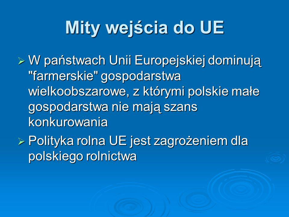 Mity wejścia do UE W państwach Unii Europejskiej dominują