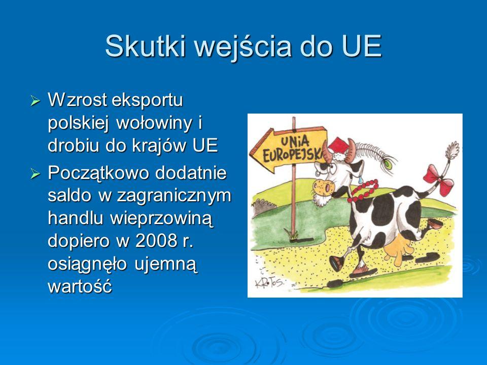 Skutki wejścia do UE Wzrost eksportu polskiej wołowiny i drobiu do krajów UE Wzrost eksportu polskiej wołowiny i drobiu do krajów UE Początkowo dodatn