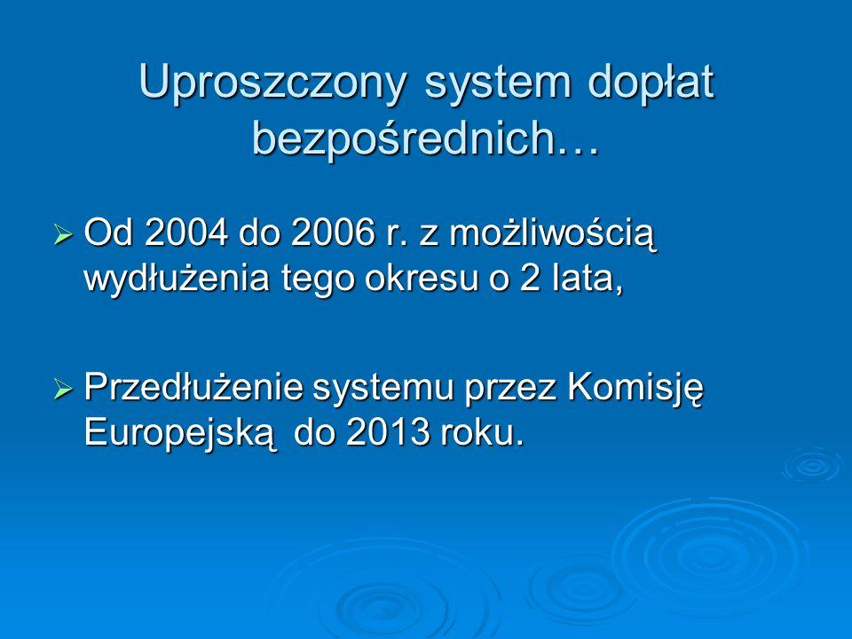 Uproszczony system dopłat bezpośrednich… Od 2004 do 2006 r. z możliwością wydłużenia tego okresu o 2 lata, Od 2004 do 2006 r. z możliwością wydłużenia