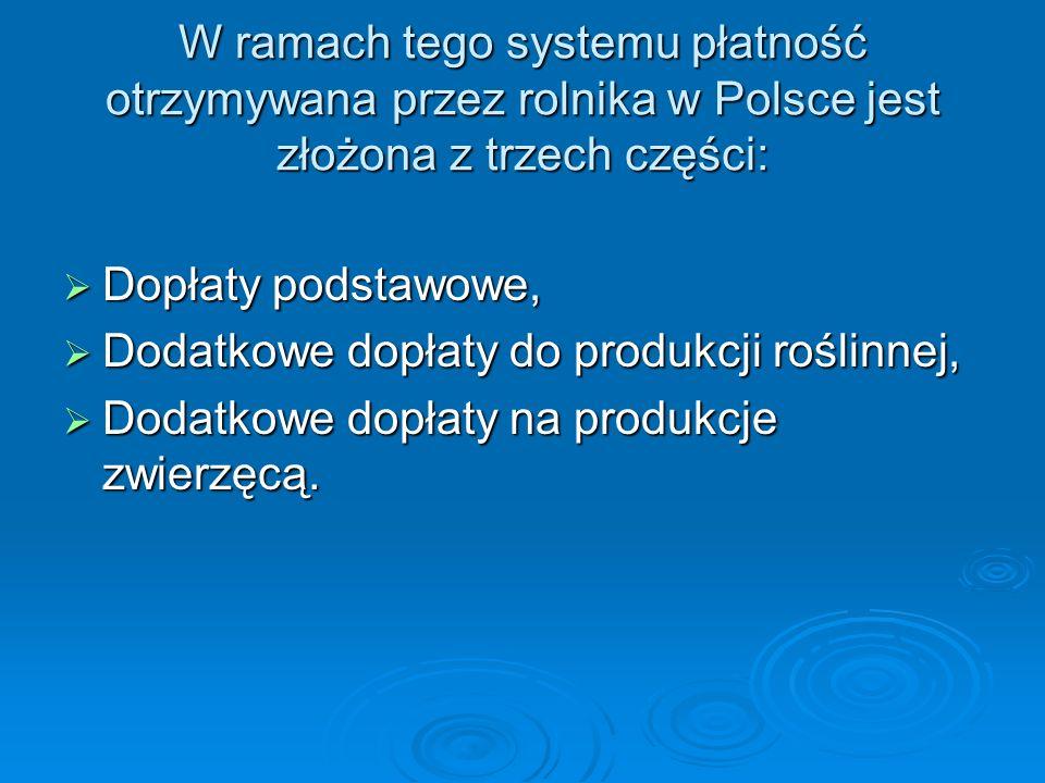 W ramach tego systemu płatność otrzymywana przez rolnika w Polsce jest złożona z trzech części: Dopłaty podstawowe, Dopłaty podstawowe, Dodatkowe dopł