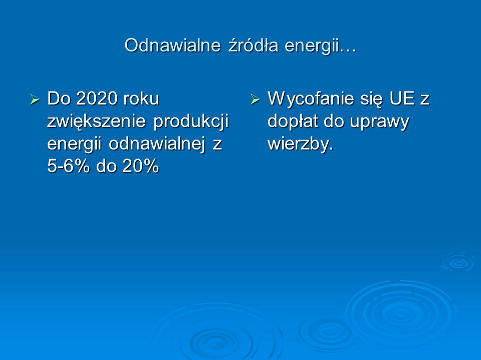 Odnawialne źródła energii… Do 2020 roku zwiększenie produkcji energii odnawialnej z 5-6% do 20% Do 2020 roku zwiększenie produkcji energii odnawialnej