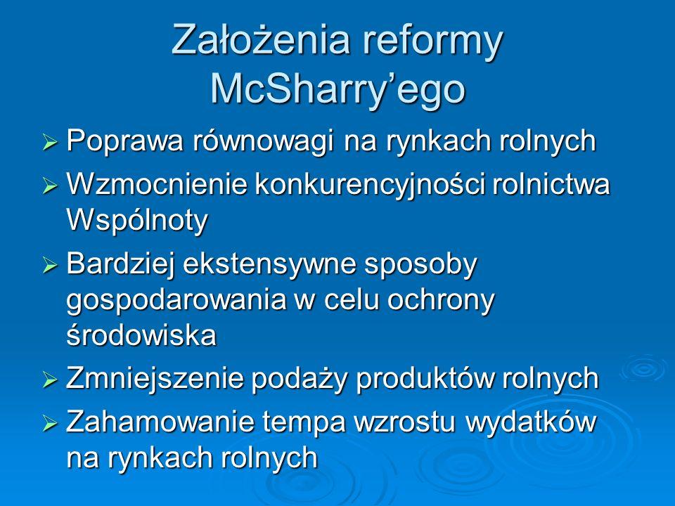 Założenia reformy McSharryego Poprawa równowagi na rynkach rolnych Poprawa równowagi na rynkach rolnych Wzmocnienie konkurencyjności rolnictwa Wspólno