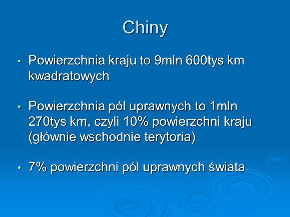 Chiny Powierzchnia kraju to 9mln 600tys km kwadratowych Powierzchnia kraju to 9mln 600tys km kwadratowych Powierzchnia pól uprawnych to 1mln 270tys km