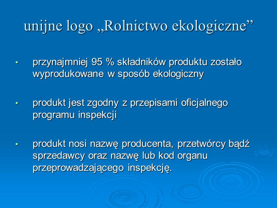 unijne logo Rolnictwo ekologiczne przynajmniej 95 % składników produktu zostało wyprodukowane w sposób ekologiczny przynajmniej 95 % składników produk