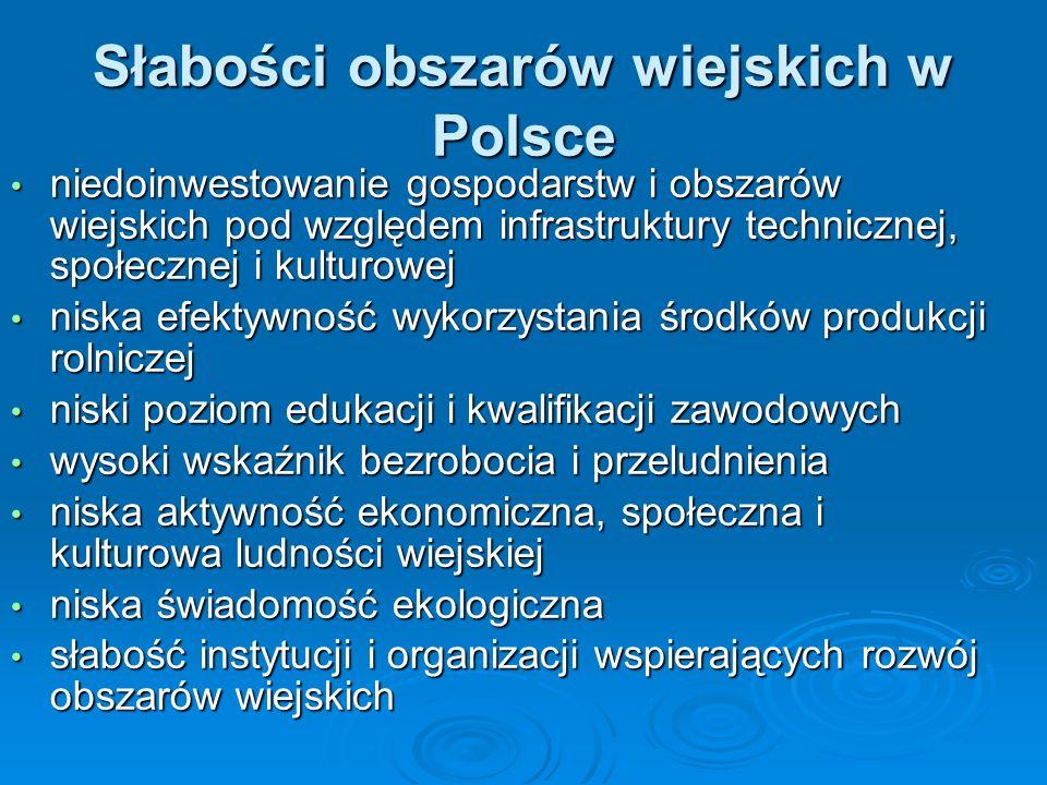 Słabości obszarów wiejskich w Polsce niedoinwestowanie gospodarstw i obszarów wiejskich pod względem infrastruktury technicznej, społecznej i kulturow