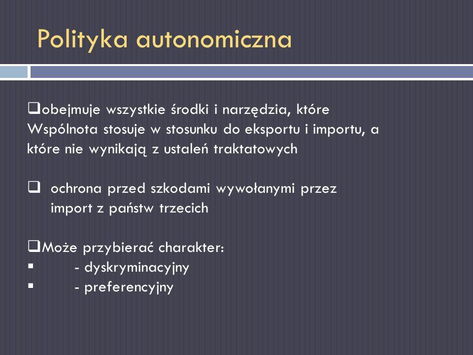 Polityka autonomiczna obejmuje wszystkie środki i narzędzia, które Wspólnota stosuje w stosunku do eksportu i importu, a które nie wynikają z ustaleń