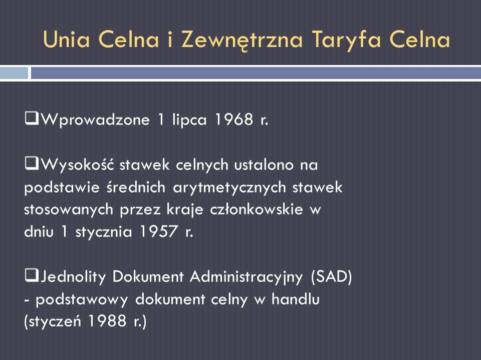 Unia Celna i Zewnętrzna Taryfa Celna Wprowadzone 1 lipca 1968 r. Wysokość stawek celnych ustalono na podstawie średnich arytmetycznych stawek stosowan