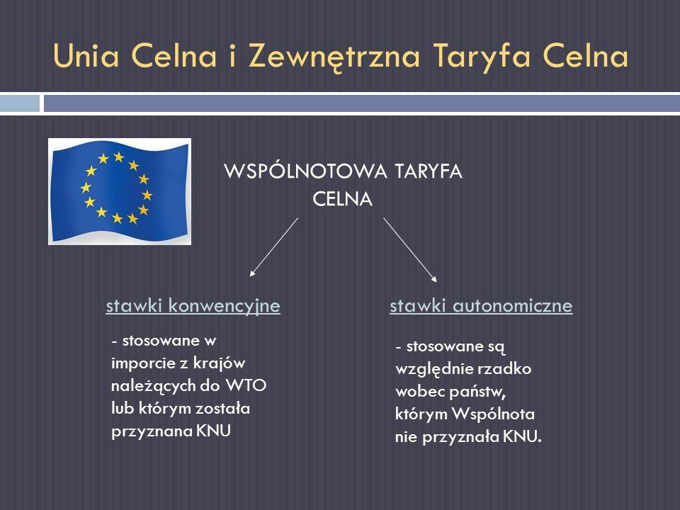 Unia Celna i Zewnętrzna Taryfa Celna WSPÓLNOTOWA TARYFA CELNA stawki konwencyjnestawki autonomiczne - stosowane w imporcie z krajów należących do WTO