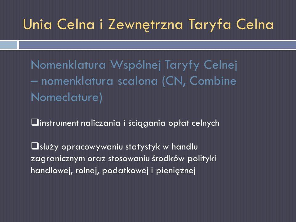 Unia Celna i Zewnętrzna Taryfa Celna Nomenklatura Wspólnej Taryfy Celnej – nomenklatura scalona (CN, Combine Nomeclature) instrument naliczania i ścią