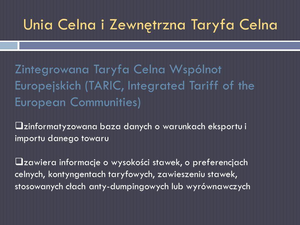 Unia Celna i Zewnętrzna Taryfa Celna Zintegrowana Taryfa Celna Wspólnot Europejskich (TARIC, Integrated Tariff of the European Communities) zinformaty