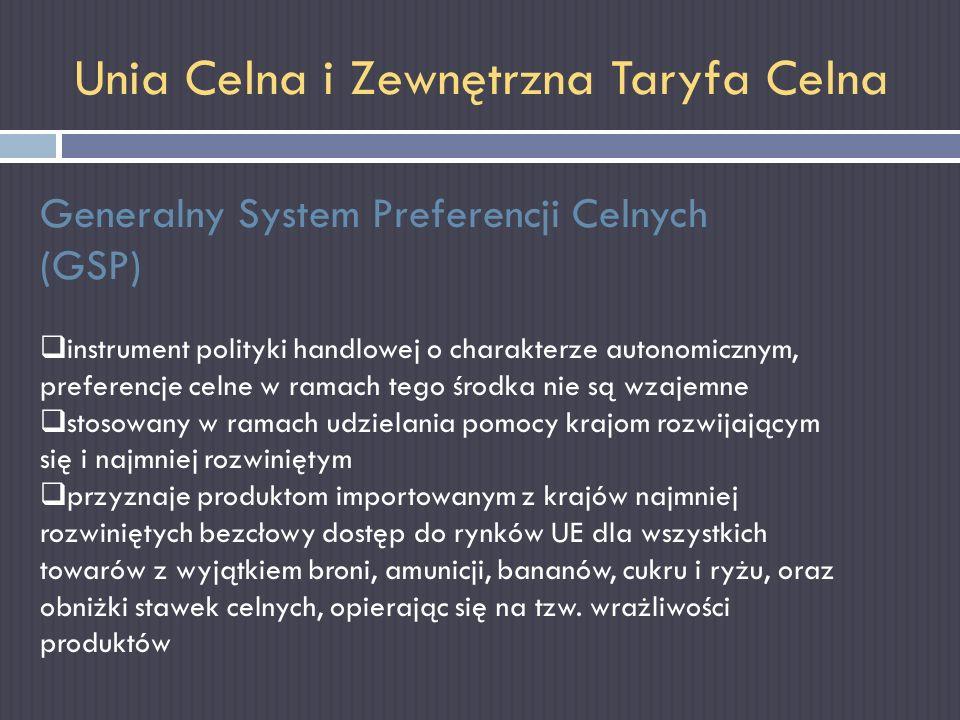 Unia Celna i Zewnętrzna Taryfa Celna Generalny System Preferencji Celnych (GSP) instrument polityki handlowej o charakterze autonomicznym, preferencje