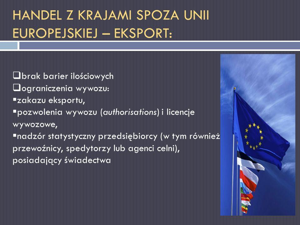 HANDEL Z KRAJAMI SPOZA UNII EUROPEJSKIEJ – EKSPORT: brak barier ilościowych ograniczenia wywozu: zakazu eksportu, pozwolenia wywozu (authorisations) i