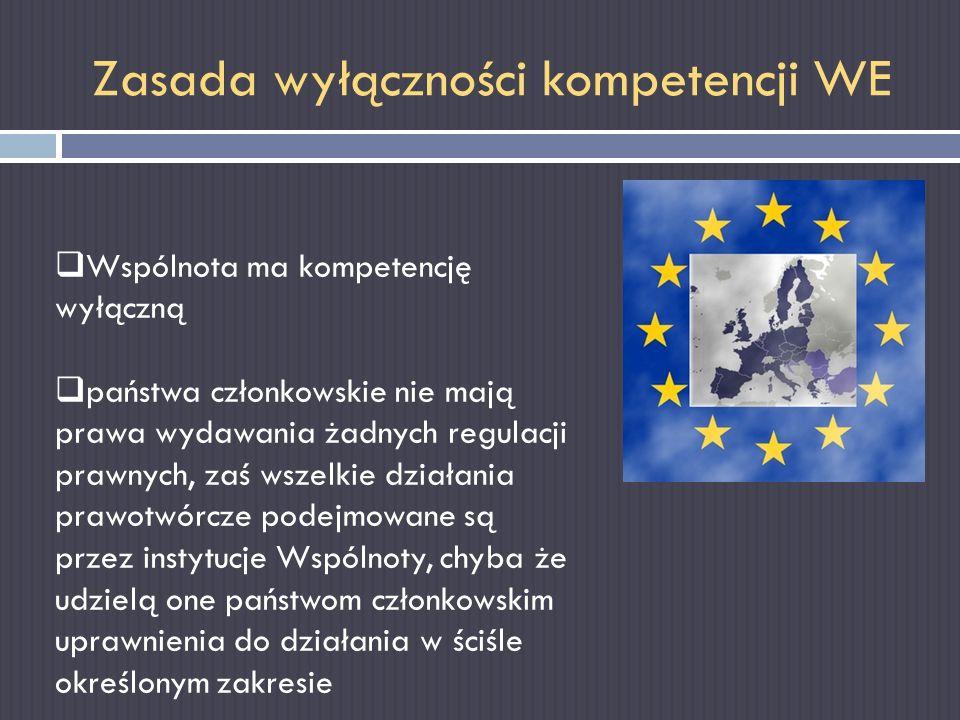 Zasada wyłączności kompetencji WE Wspólnota ma kompetencję wyłączną państwa członkowskie nie mają prawa wydawania żadnych regulacji prawnych, zaś wsze