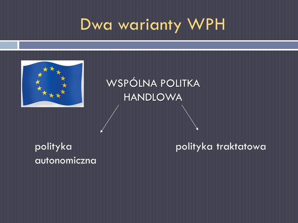 Dwa warianty WPH WSPÓLNA POLITKA HANDLOWA polityka autonomiczna polityka traktatowa