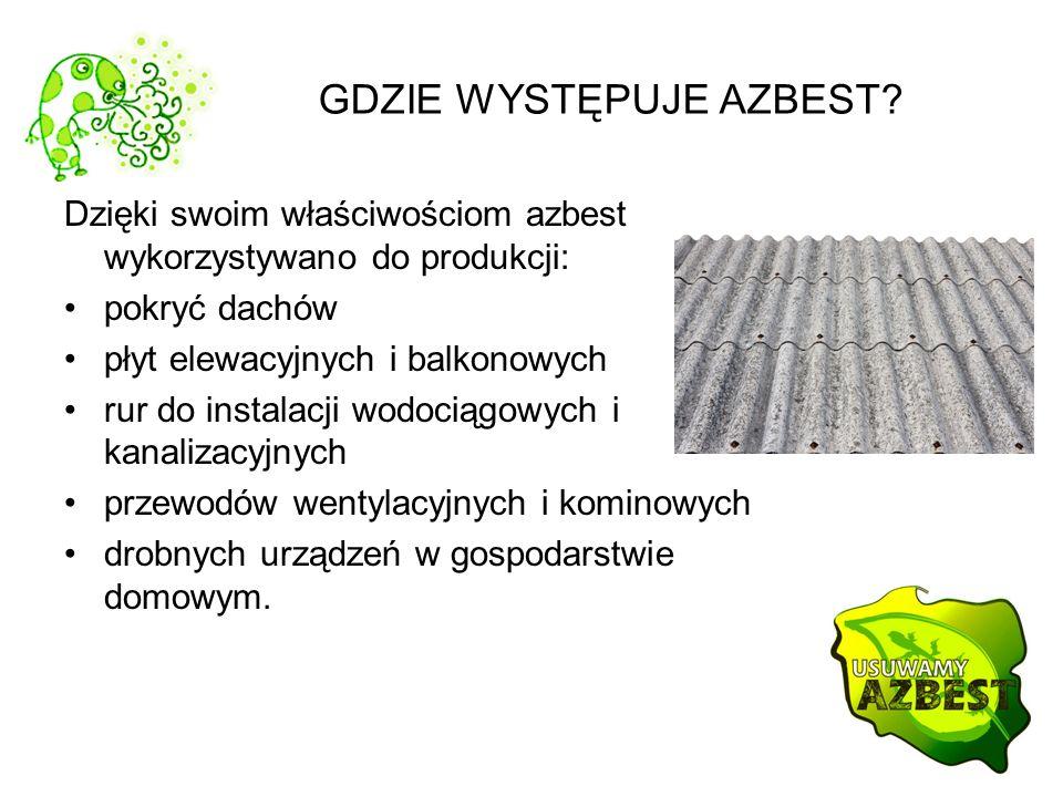 GDZIE WYSTĘPUJE AZBEST? Dzięki swoim właściwościom azbest wykorzystywano do produkcji: pokryć dachów płyt elewacyjnych i balkonowych rur do instalacji