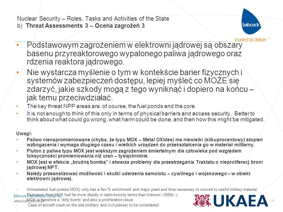 11 Nuclear Security – Roles, Tasks and Activities of the State b) Threat Assessments 3 – Ocena zagrożeń 3 Podstawowym zagrożeniem w elektrowni jądrowe