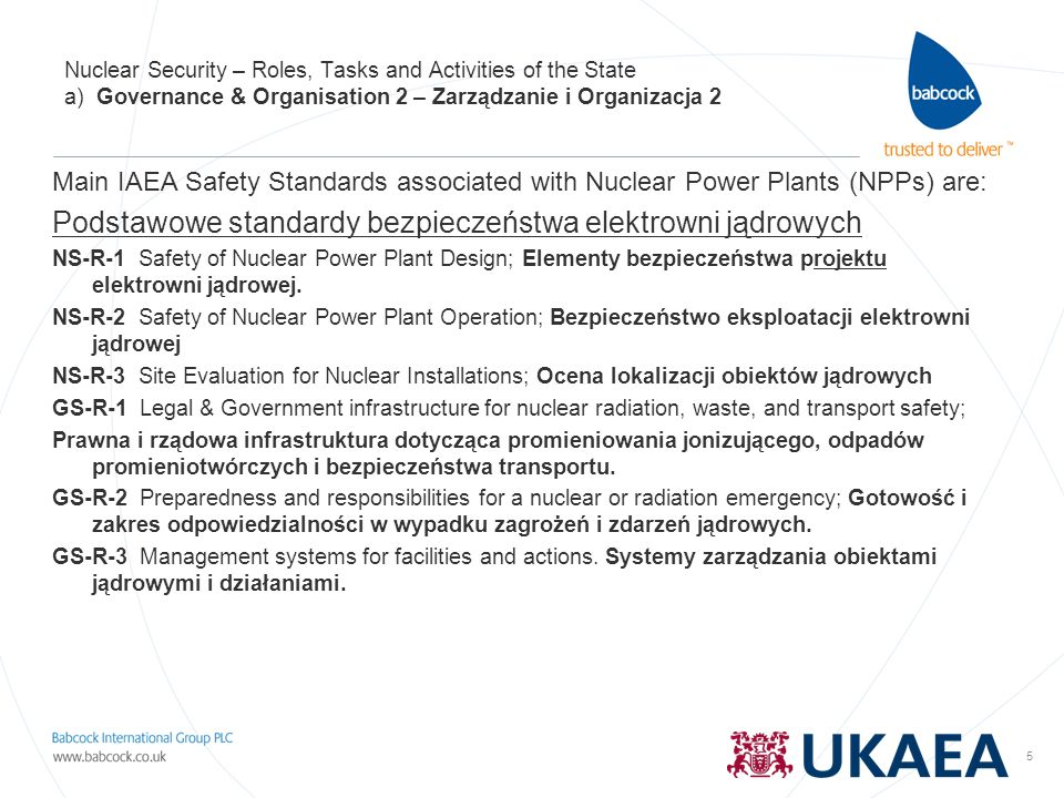 6 Nuclear Security – Roles, Tasks and Activities of the State a) Governance & Organisation 3 – Zarządzanie i Organizacja 3 Niezależny Regulator z bardzo szerokimi uprawnieniami.