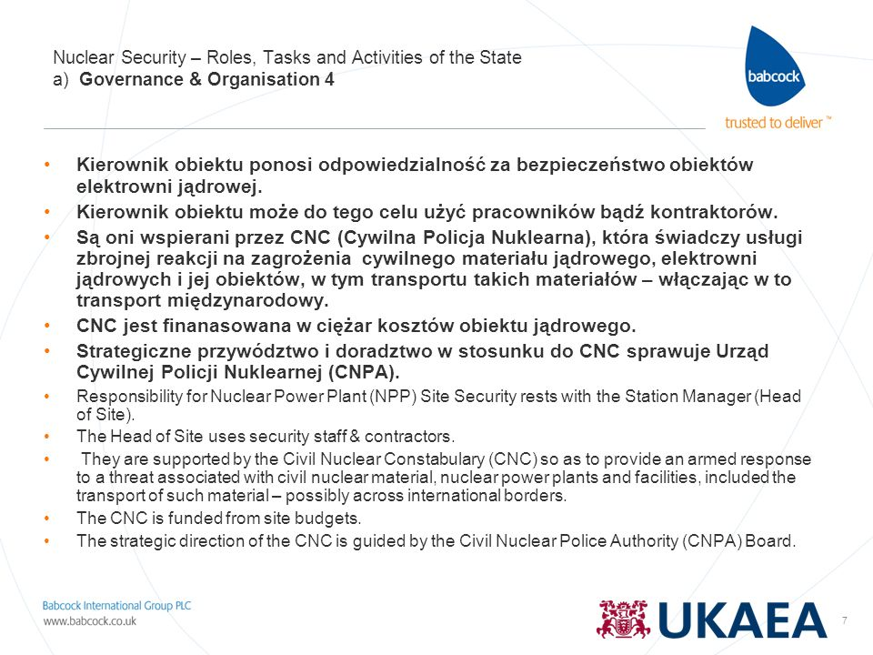 7 Nuclear Security – Roles, Tasks and Activities of the State a) Governance & Organisation 4 Kierownik obiektu ponosi odpowiedzialność za bezpieczeńst