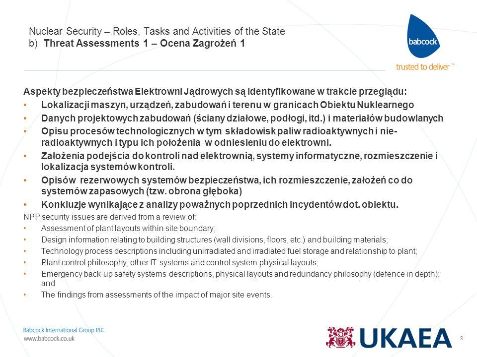 9 Nuclear Security – Roles, Tasks and Activities of the State b) Threat Assessments 1 – Ocena Zagrożeń 1 Aspekty bezpieczeństwa Elektrowni Jądrowych s