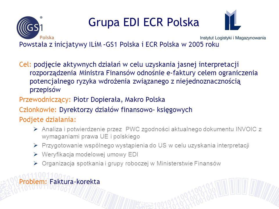 Grupa EDI ECR Polska Powstała z inicjatywy ILiM –GS1 Polska i ECR Polska w 2005 roku Cel: podjęcie aktywnych działań w celu uzyskania jasnej interpretacji rozporządzenia Ministra Finansów odnośnie e-faktury celem ograniczenia potencjalnego ryzyka wdrożenia związanego z niejednoznacznością przepisów Przewodniczący: Piotr Dopierała, Makro Polska Członkowie: Dyrektorzy działów finansowo- księgowych Podjete działania: Analiza i potwierdzenie przez PWC zgodności aktualnego dokumentu INVOIC z wymaganiami prawa UE i polskiego Przygotowanie wspólnego wystąpienia do US w celu uzyskania interpretacji Weryfikacja modelowej umowy EDI Organizacja spotkania i grupy roboczej w Ministerstwie Finansów Problem: Faktura-korekta
