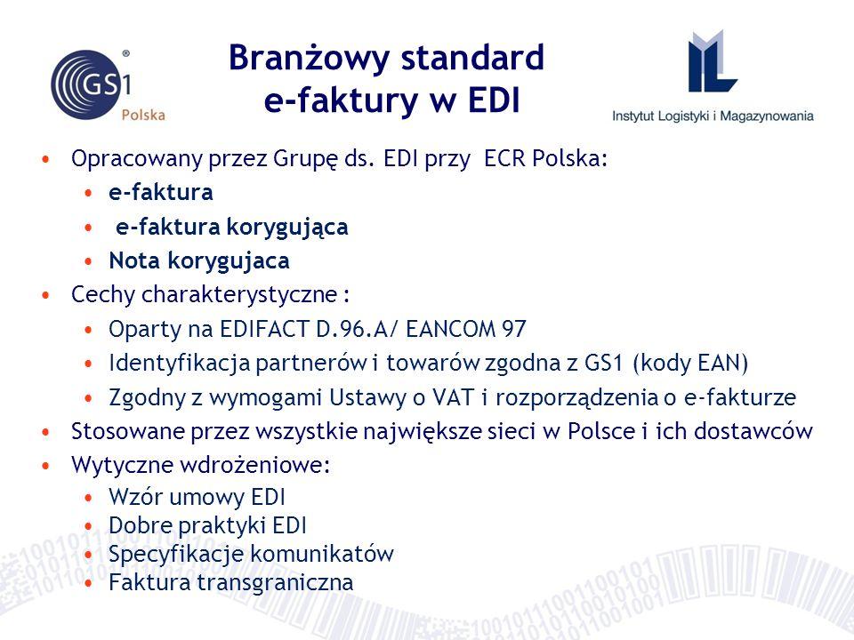 Opracowany przez Grupę ds. EDI przy ECR Polska: e-faktura e-faktura korygująca Nota korygujaca Cechy charakterystyczne : Oparty na EDIFACT D.96.A/ EAN