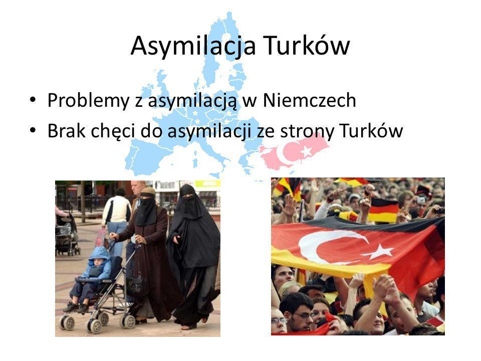 Asymilacja Turków Problemy z asymilacją w Niemczech Brak chęci do asymilacji ze strony Turków