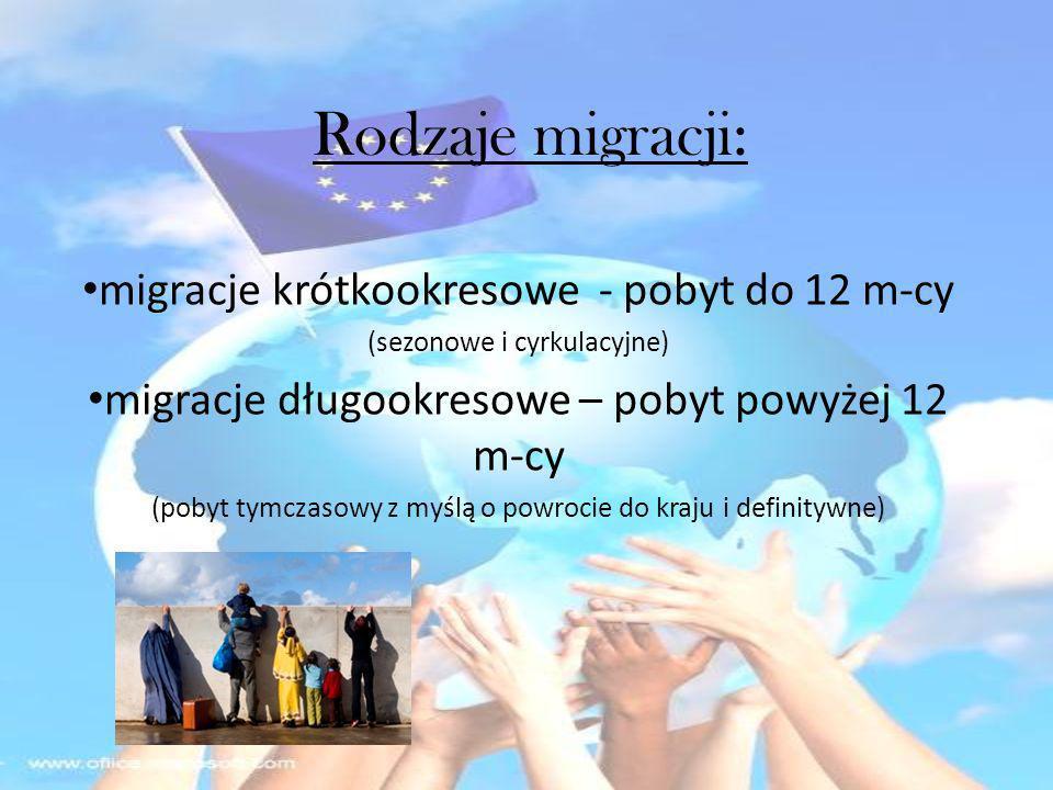 Rodzaje migracji: migracje krótkookresowe - pobyt do 12 m-cy (sezonowe i cyrkulacyjne) migracje długookresowe – pobyt powyżej 12 m-cy (pobyt tymczasow