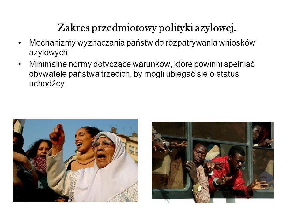 Zakres przedmiotowy polityki azylowej. Mechanizmy wyznaczania państw do rozpatrywania wniosków azylowych Minimalne normy dotyczące warunków, które pow