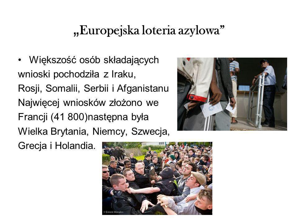 Europejska loteria azylowa Większość osób składających wnioski pochodziła z Iraku, Rosji, Somalii, Serbii i Afganistanu Najwięcej wniosków złożono we