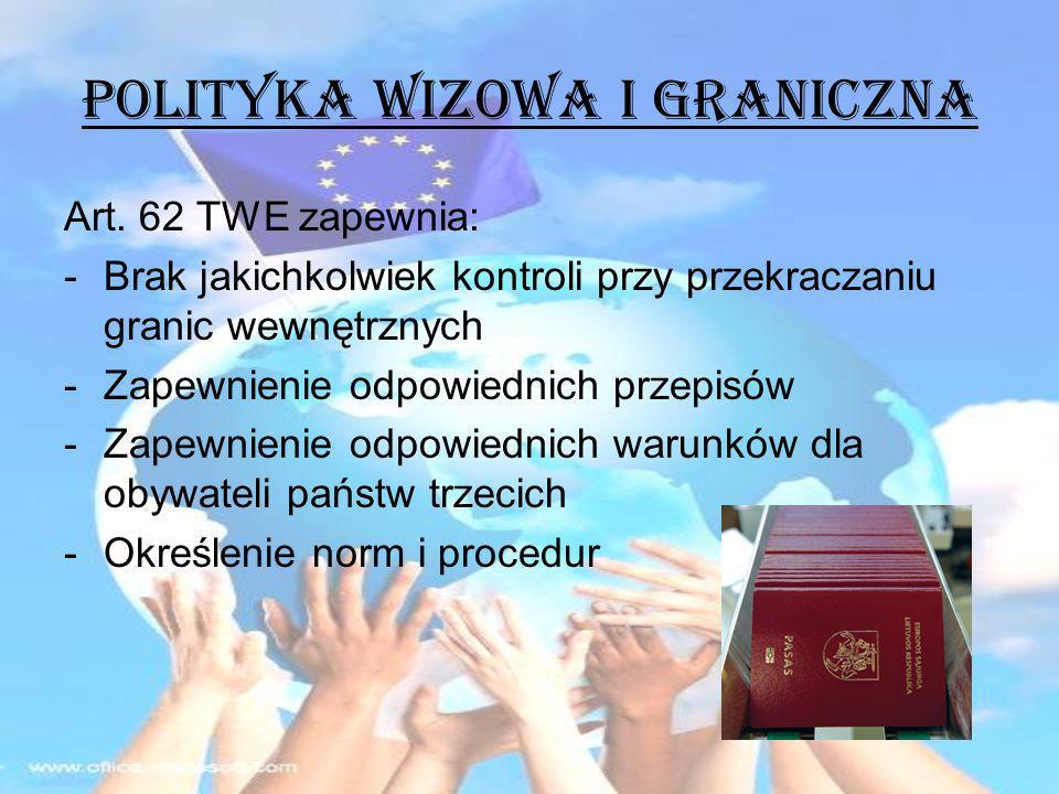 POLITYKA WIZOWA i GRANICZNA Art. 62 TWE zapewnia: -Brak jakichkolwiek kontroli przy przekraczaniu granic wewnętrznych -Zapewnienie odpowiednich przepi