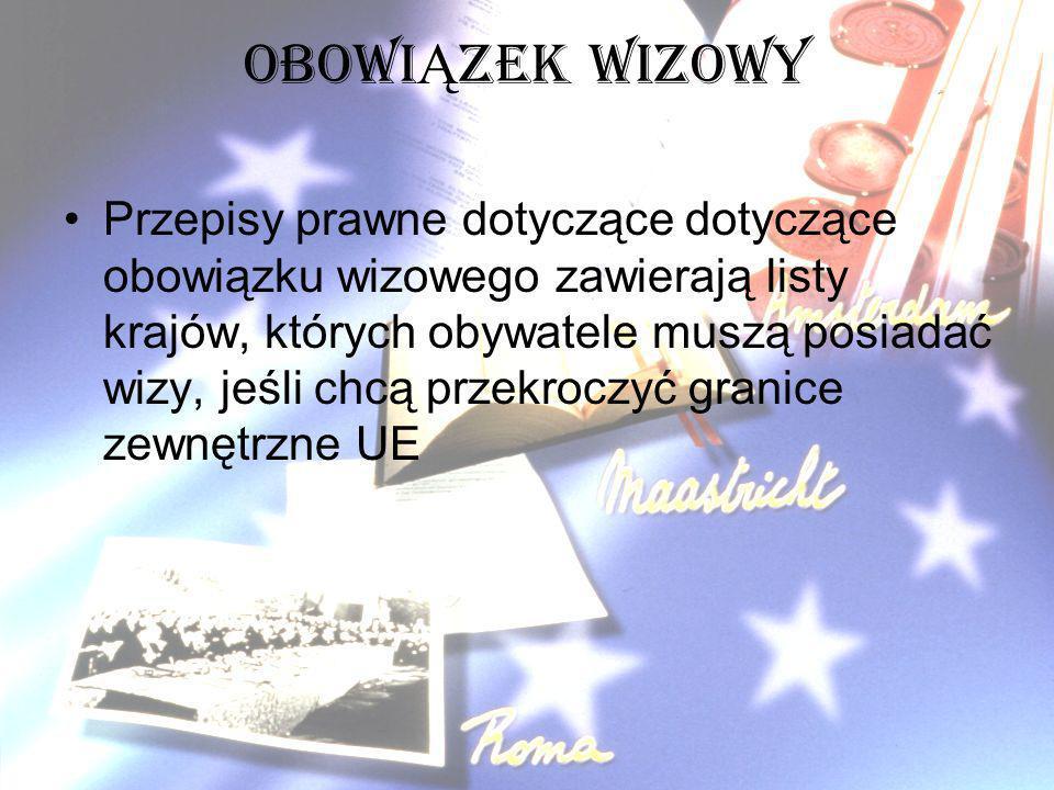 OBOWI Ą ZEK WIZOWY Przepisy prawne dotyczące dotyczące obowiązku wizowego zawierają listy krajów, których obywatele muszą posiadać wizy, jeśli chcą pr
