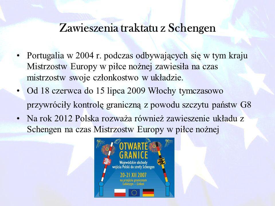 Zawieszenia traktatu z Schengen Portugalia w 2004 r. podczas odbywających się w tym kraju Mistrzostw Europy w piłce nożnej zawiesiła na czas mistrzost