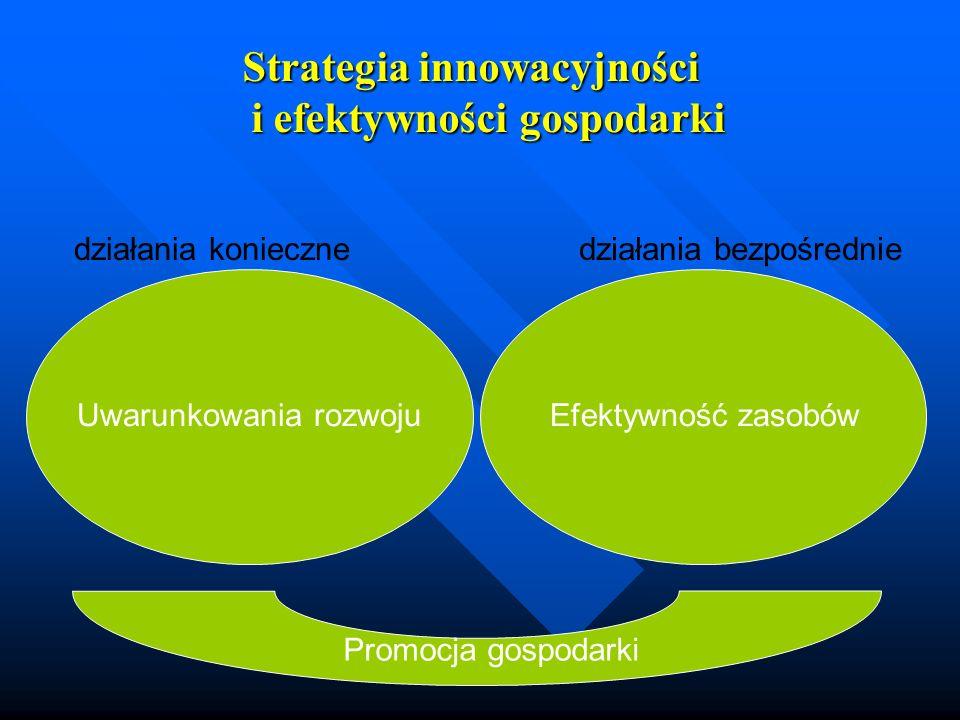 Strategia innowacyjności i efektywności gospodarki Uwarunkowania rozwojuEfektywność zasobów Promocja gospodarki działania koniecznedziałania bezpośred