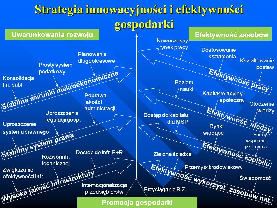 Strategia innowacyjności i efektywności gospodarki Uwarunkowania rozwoju Promocja gospodarki Efektywność zasobów Stabilne warunki makroekonomiczne Kon