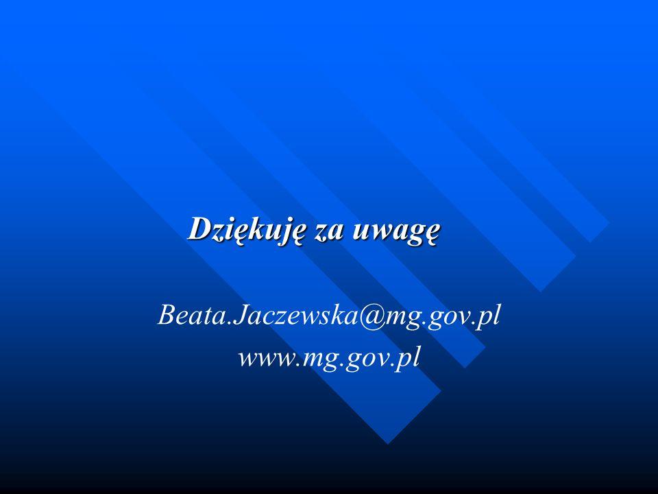 Dziękuję za uwagę Beata.Jaczewska@mg.gov.pl www.mg.gov.pl