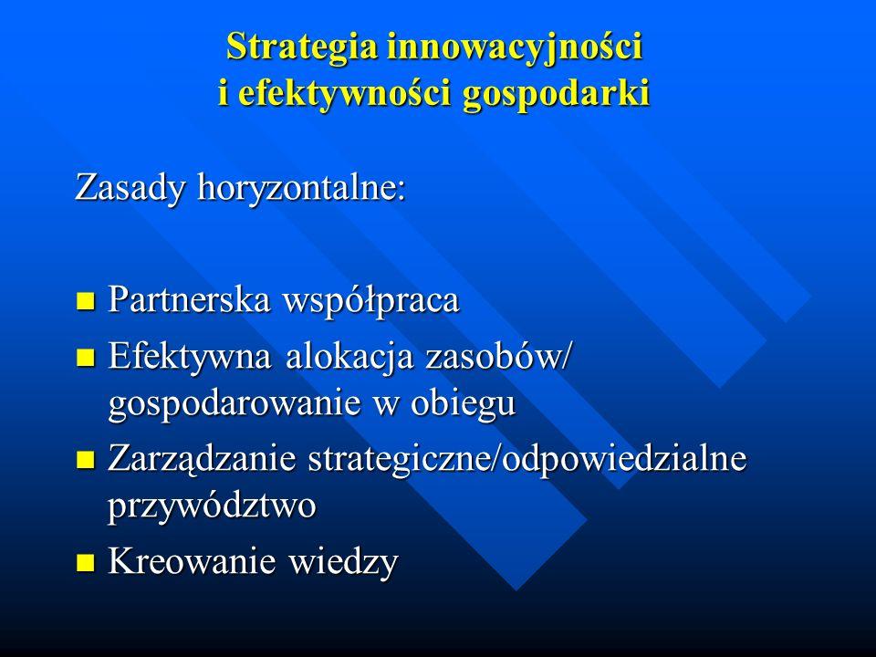 Strategia innowacyjności i efektywności gospodarki Zasady horyzontalne: Partnerska współpraca Partnerska współpraca Efektywna alokacja zasobów/ gospod