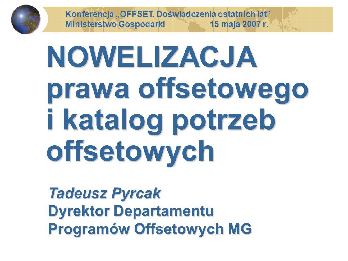 NOWELIZACJA prawa offsetowego i katalog potrzeb offsetowych Konferencja OFFSET. Doświadczenia ostatnich lat Ministerstwo Gospodarki 15 maja 2007 r. Ta