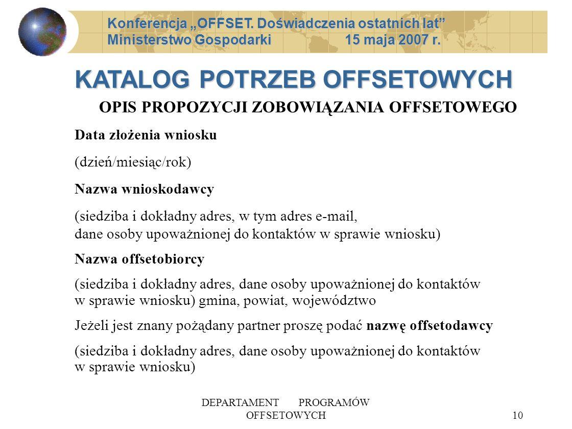 DEPARTAMENT PROGRAMÓW OFFSETOWYCH10 Konferencja OFFSET.