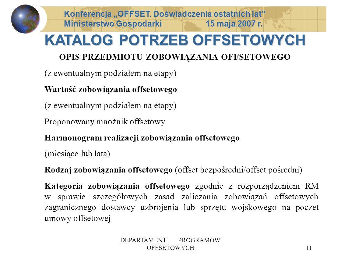 DEPARTAMENT PROGRAMÓW OFFSETOWYCH11 Konferencja OFFSET. Doświadczenia ostatnich lat Ministerstwo Gospodarki 15 maja 2007 r. OPIS PRZEDMIOTU ZOBOWIĄZAN