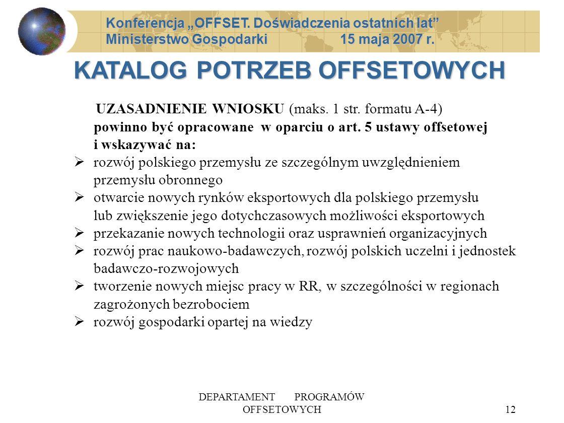 DEPARTAMENT PROGRAMÓW OFFSETOWYCH12 Konferencja OFFSET.