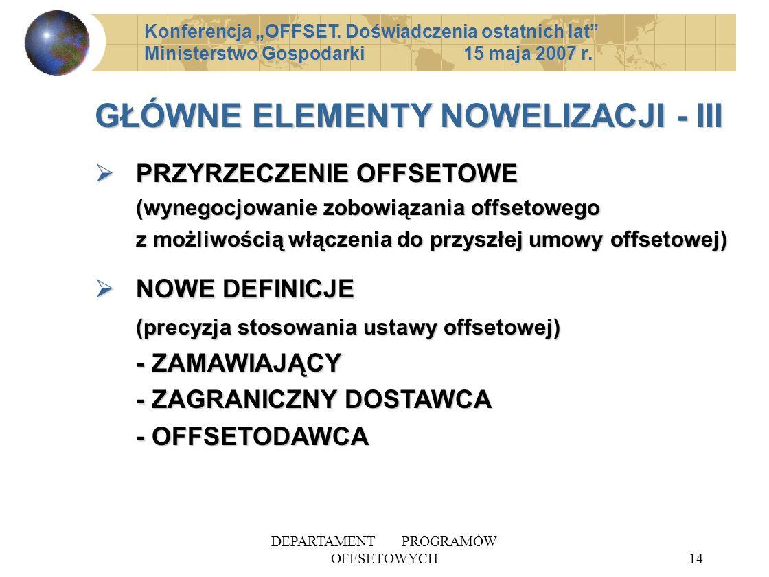 DEPARTAMENT PROGRAMÓW OFFSETOWYCH14 GŁÓWNE ELEMENTY NOWELIZACJI - III PRZYRZECZENIE OFFSETOWE (wynegocjowanie zobowiązania offsetowego z możliwością w