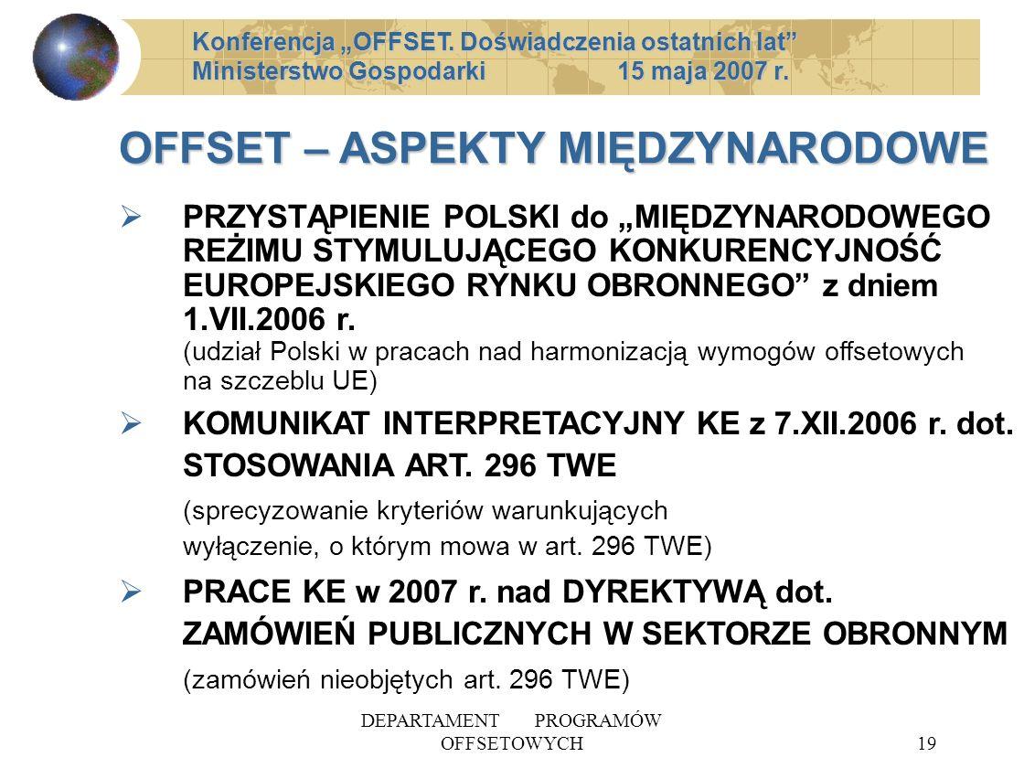 DEPARTAMENT PROGRAMÓW OFFSETOWYCH19 OFFSET – ASPEKTY MIĘDZYNARODOWE PRZYSTĄPIENIE POLSKI do MIĘDZYNARODOWEGO REŻIMU STYMULUJĄCEGO KONKURENCYJNOŚĆ EUROPEJSKIEGO RYNKU OBRONNEGO z dniem 1.VII.2006 r.