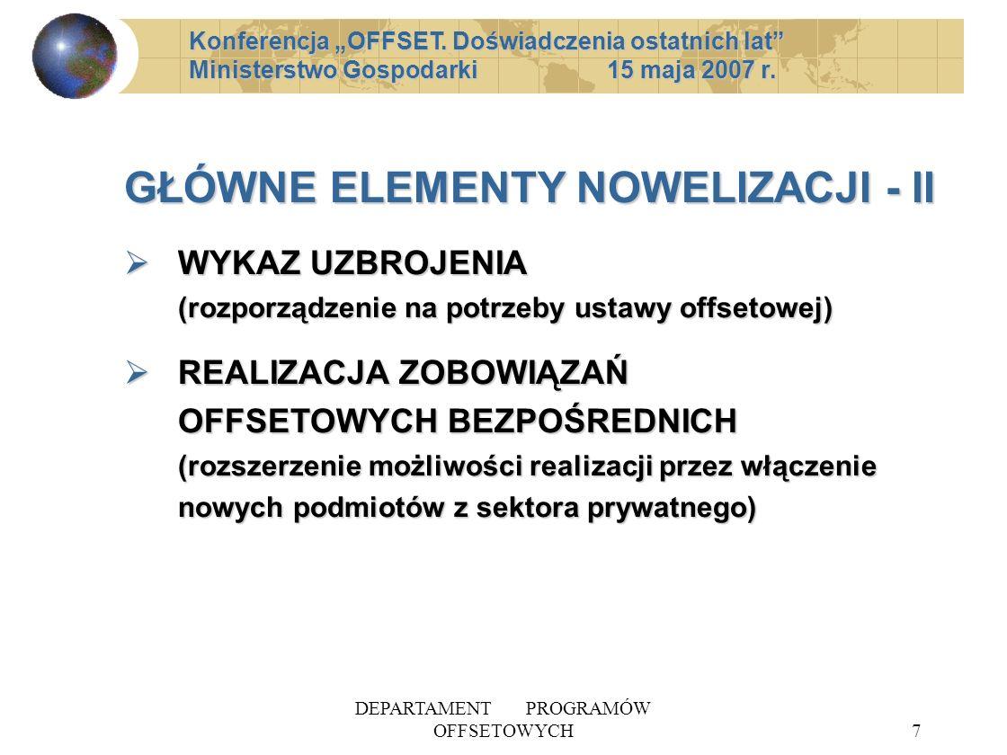 DEPARTAMENT PROGRAMÓW OFFSETOWYCH7 GŁÓWNE ELEMENTY NOWELIZACJI - II WYKAZ UZBROJENIA (rozporządzenie na potrzeby ustawy offsetowej) WYKAZ UZBROJENIA (