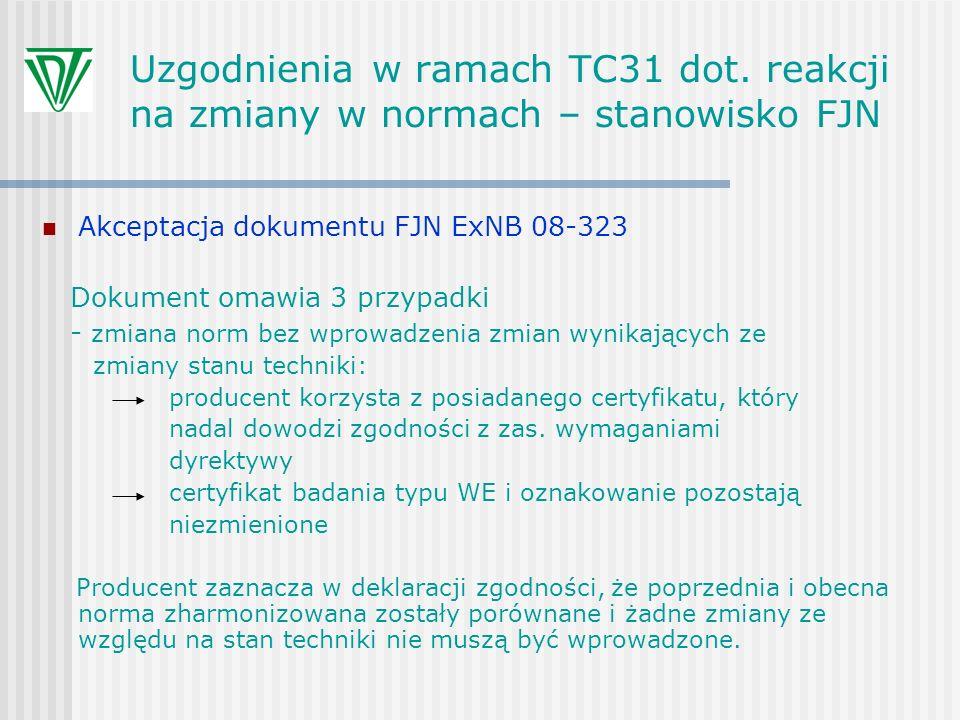 Uzgodnienia w ramach TC31 dot. reakcji na zmiany w normach – stanowisko FJN Akceptacja dokumentu FJN ExNB 08-323 Dokument omawia 3 przypadki - zmiana