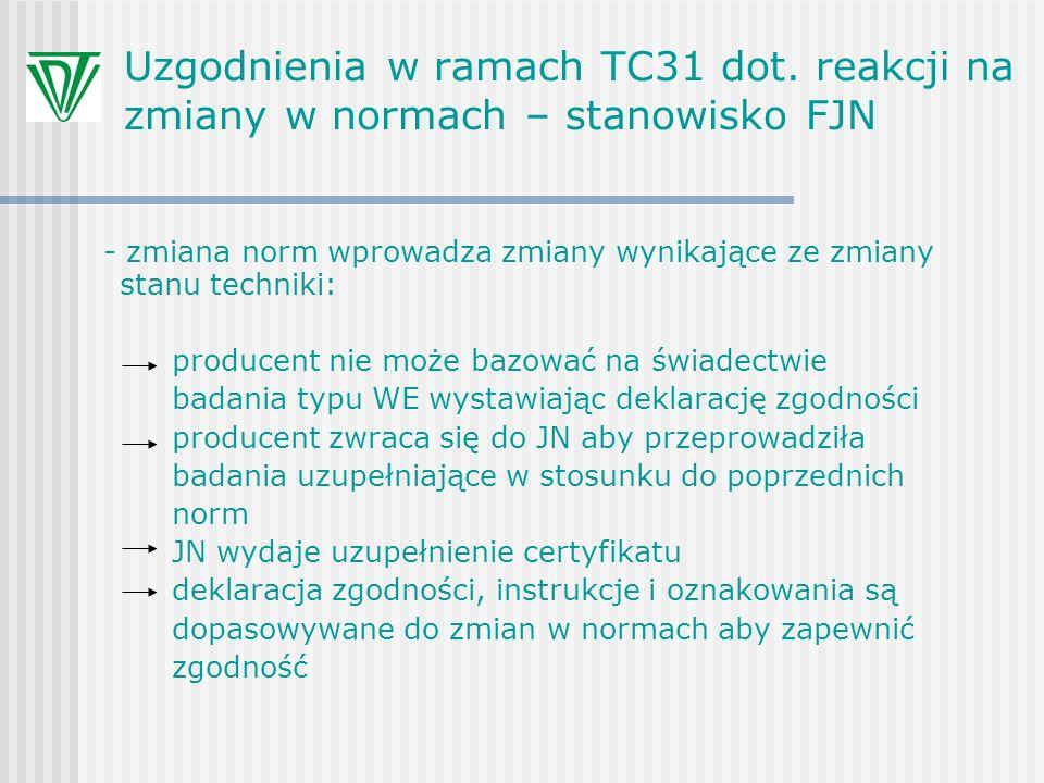 Uzgodnienia w ramach TC31 dot. reakcji na zmiany w normach – stanowisko FJN - zmiana norm wprowadza zmiany wynikające ze zmiany stanu techniki: produc
