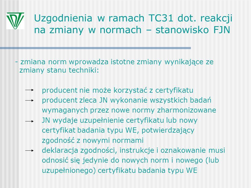 Uzgodnienia w ramach TC31 dot. reakcji na zmiany w normach – stanowisko FJN - zmiana norm wprowadza istotne zmiany wynikające ze zmiany stanu techniki